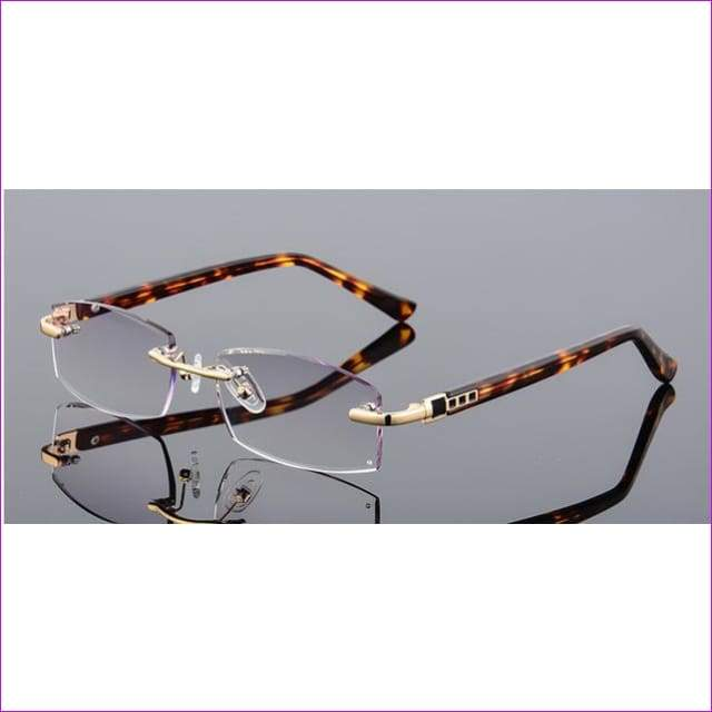 Rhinestone Reading Glasses Diamond Cutting Rimless Glasses +1.0 to +4.0 - +100 / Light grey lenses - Reading Glasses