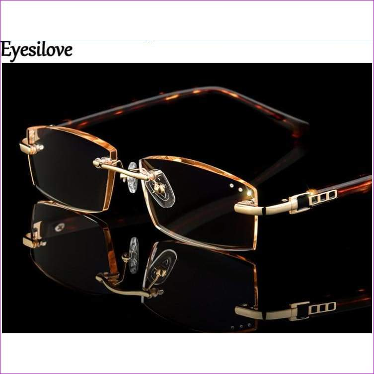 Rhinestone Reading Glasses Women Diamond Cutting Rimless Glasses lady Presbyopic Eyeglasses +1.0 to +4.0 - Reading Glasses