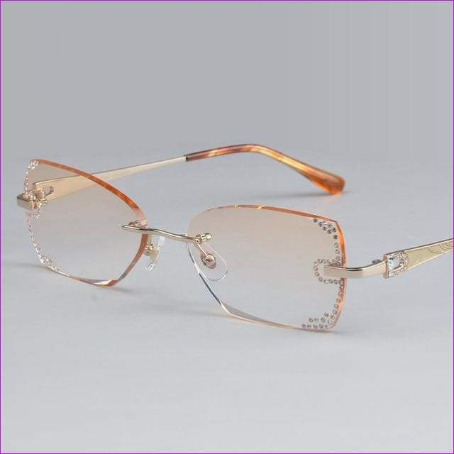 Rhinestone Rimless Myopia Prescription Eye Glasses Diopter Rhinestone Lenses Ladies Reading Eyewear - Gold - Reading Glasses