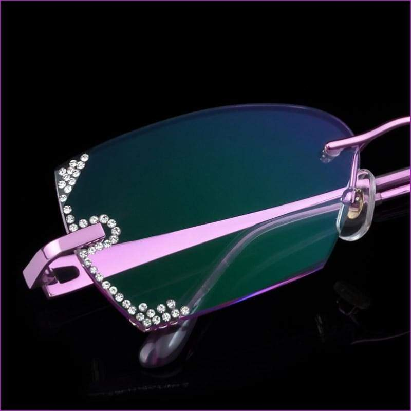 Rhinestone Rimless Myopia Prescription Eye Glasses Diopter Rhinestone Lenses Ladies Reading Eyewear - Reading Glasses