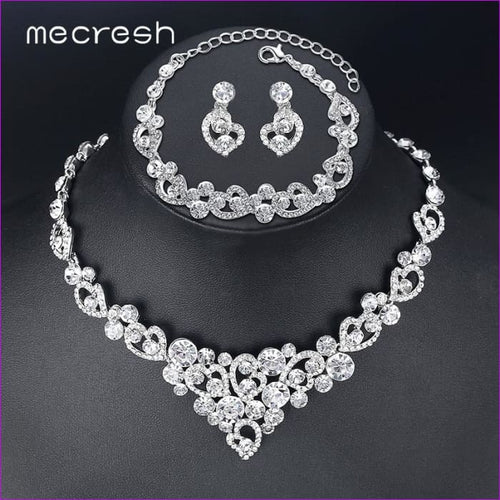 Rhinestone Wedding Jewelry Necklace Sets Crystal Wedding Bridal Jewelry Sets - Bridal Jewelry Bridal Jewely