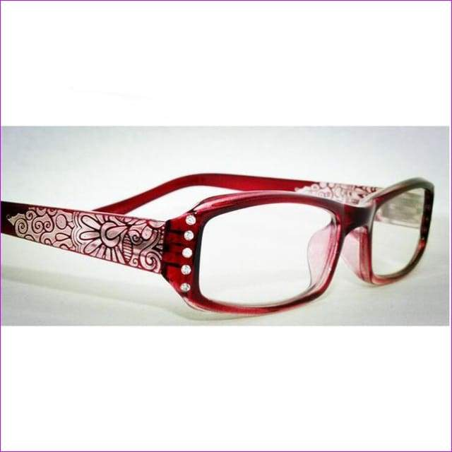 Rhinestone Women Reading Glasses Flowers Print Reader with Diamonte - +100 / Red - Reading Glasses