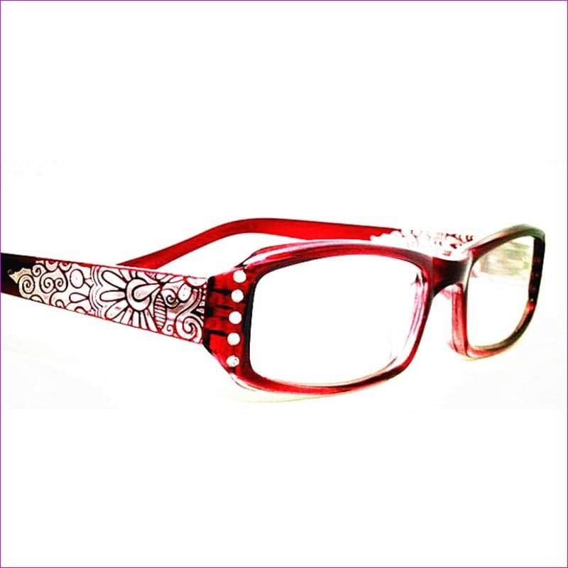 Rhinestone Women Reading Glasses Flowers Print Reader with Diamonte - Reading Glasses