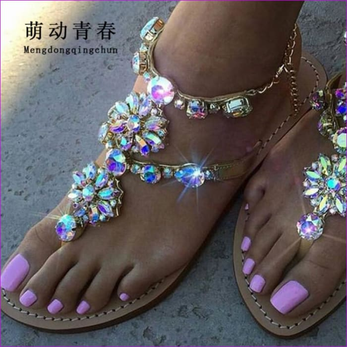 Rhinestones Chains Thong Gladiator Flat Sandals Women Shoes Crystal Chaussure Plus Size 46 tenis - Sandals Beach Sandals cf-color-black