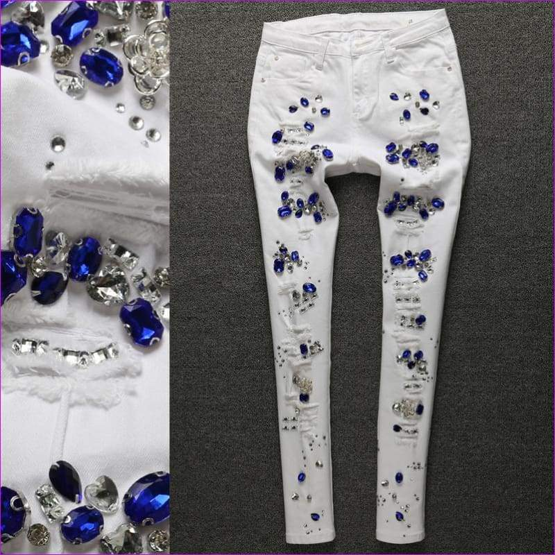 Rhinestones Jeans Women Cotton Denim Skinny Jeans White Pencil Pants - Jeans