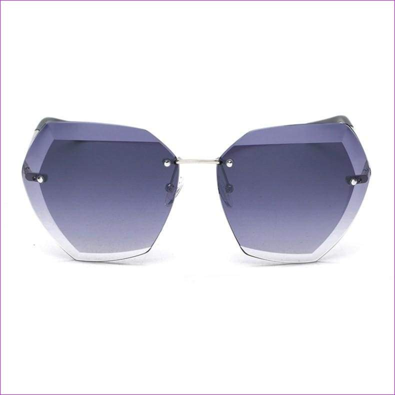Rimless frame Summer lens hood glasses Women Sunglasses - C16GradientGray - Sun Glasses