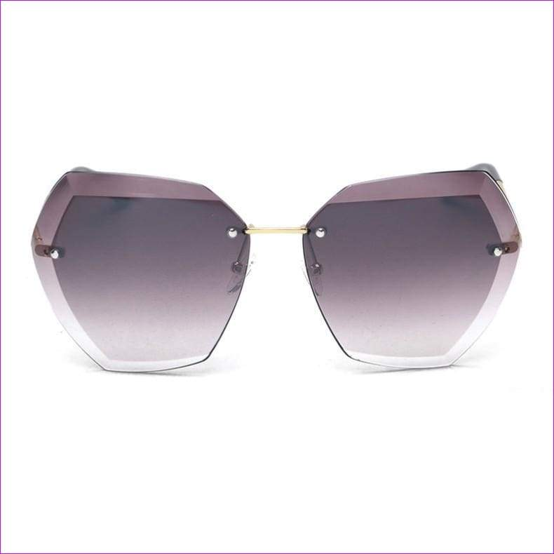 Rimless frame Summer lens hood glasses Women Sunglasses - C20PurpleGray - Sun Glasses
