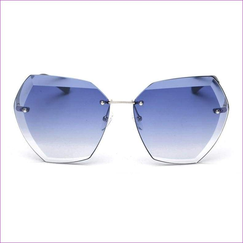 Rimless frame Summer lens hood glasses Women Sunglasses - C21GradientBlue - Sun Glasses