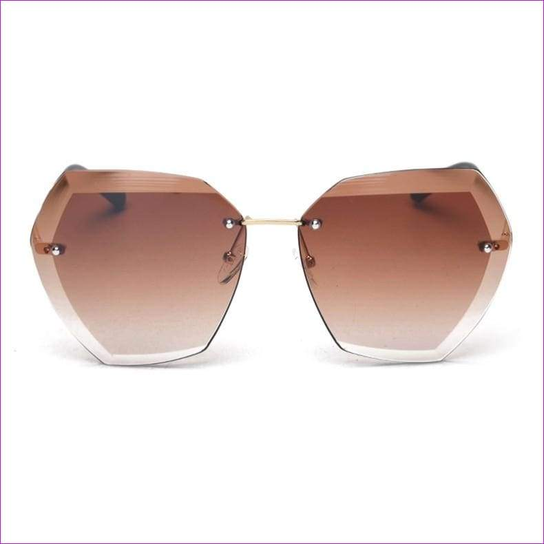 Rimless frame Summer lens hood glasses Women Sunglasses - C5GradientBrown - Sun Glasses