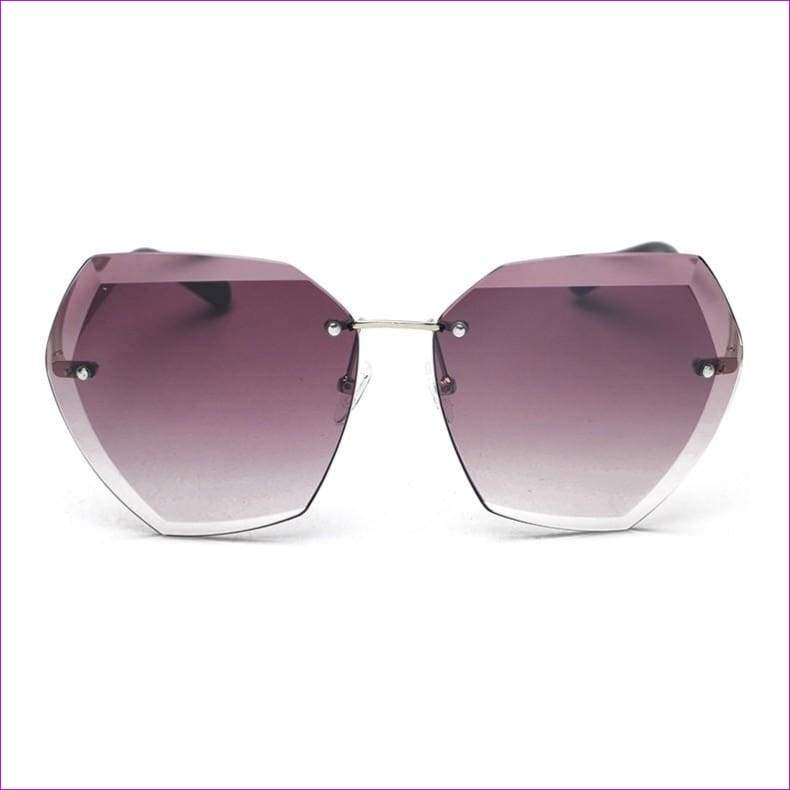Rimless frame Summer lens hood glasses Women Sunglasses - C67GradientPurple - Sun Glasses