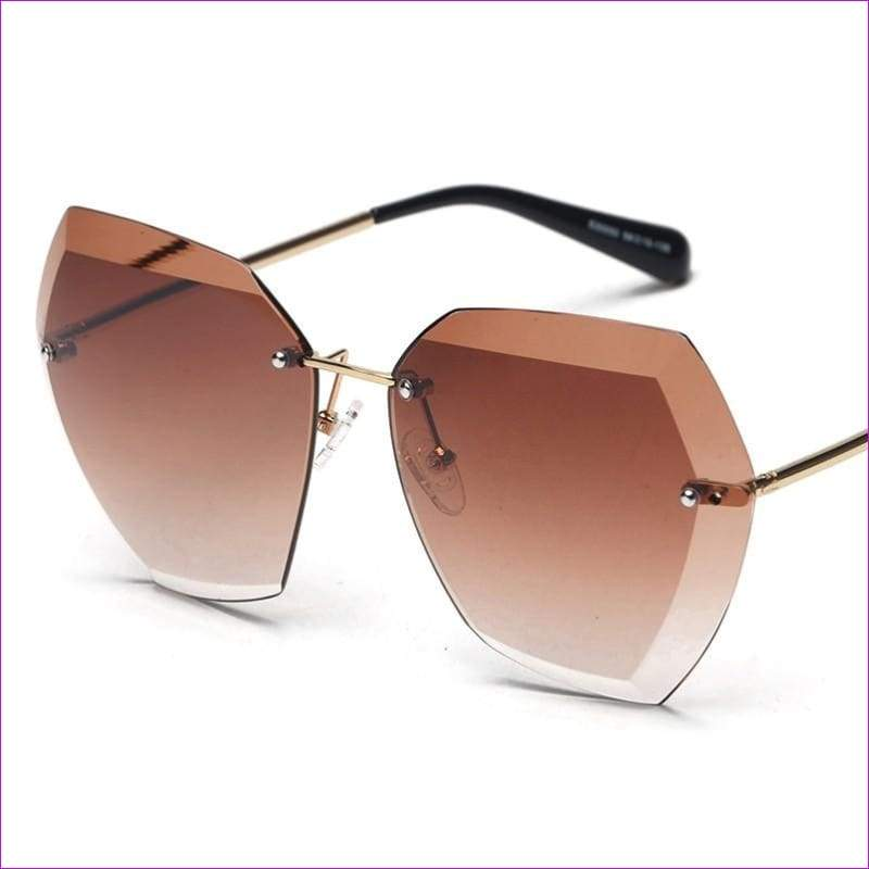 Rimless frame Summer lens hood glasses Women Sunglasses - Sun Glasses