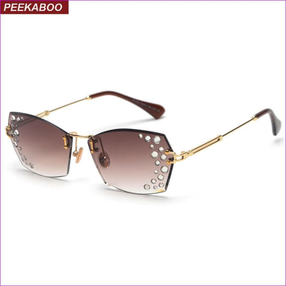 Rimless rhinestone Peekaboo sunglasses clear lens sun glasses uv400 brown - Sun Glasses Sun Glasses