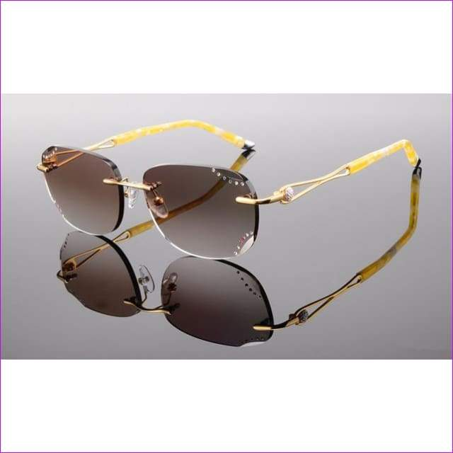 Rimless Sunglasses Prescription Reading Myopia Sun Glasses with Color Tinted lenses MR-8 Lenses Crystal Glasses - Gold 1.61 Lenses