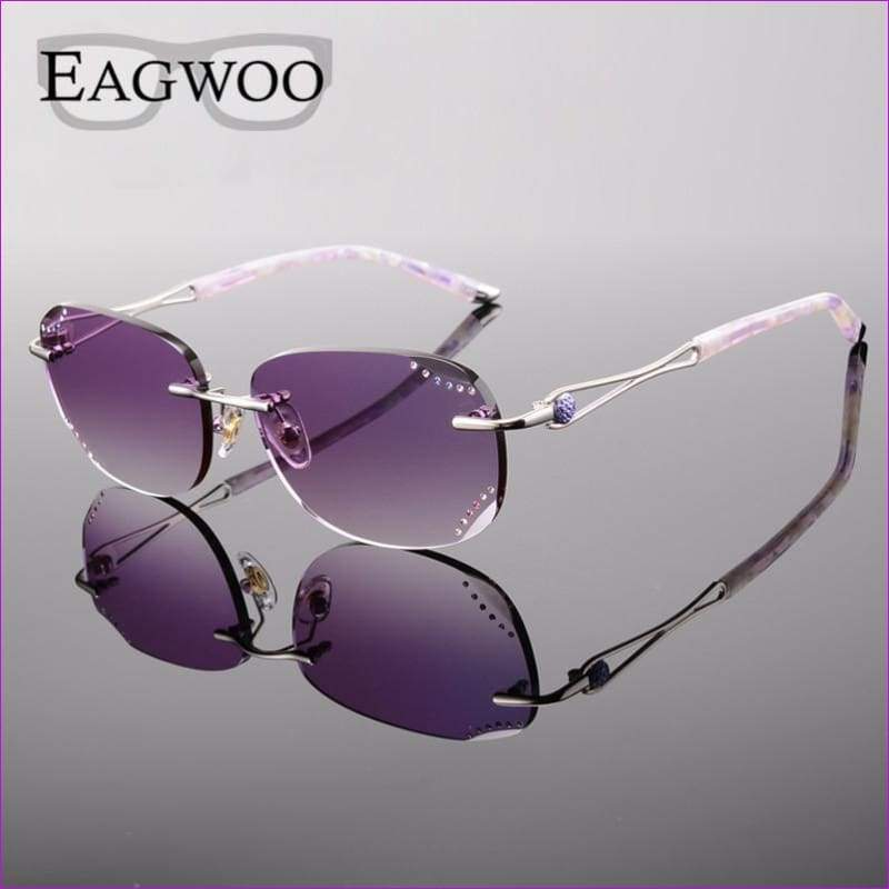 Rimless Sunglasses Prescription Reading Myopia Sun Glasses with Color Tinted lenses MR-8 Lenses Crystal Glasses