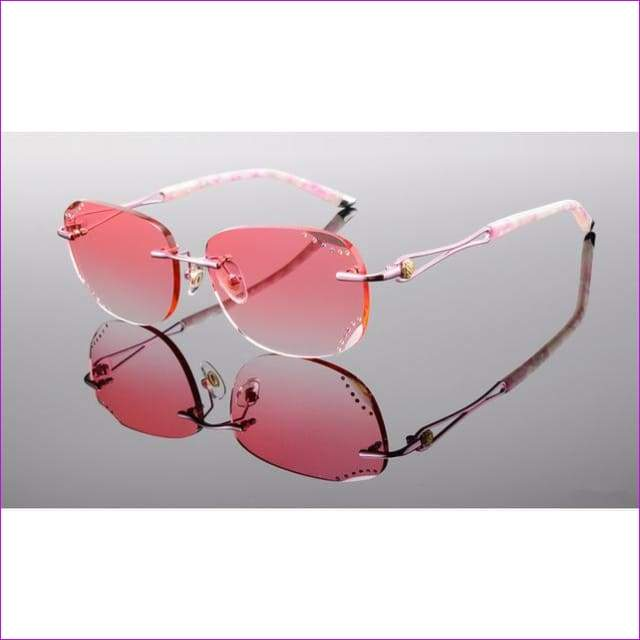Rimless Sunglasses Prescription Reading Myopia Sun Glasses with Color Tinted lenses MR-8 Lenses Crystal Glasses - Pink 1.61 Lenses