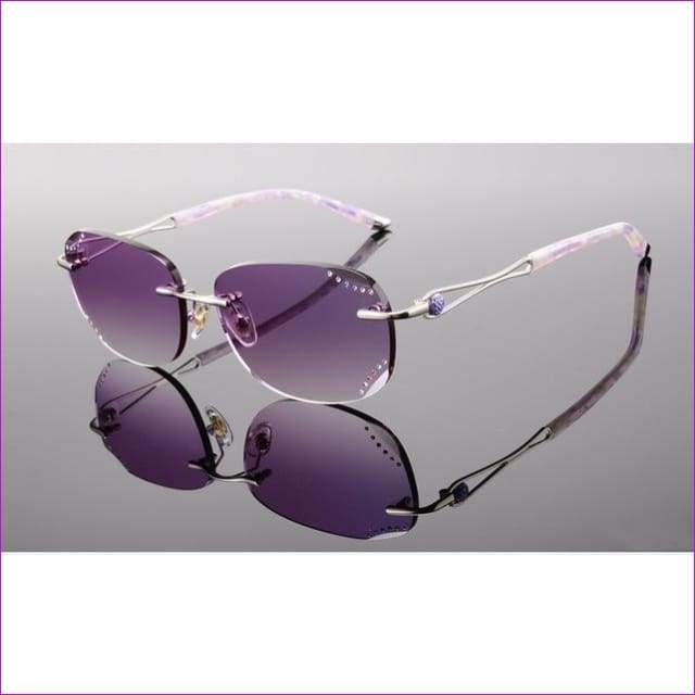 Rimless Sunglasses Prescription Reading Myopia Sun Glasses with Color Tinted lenses MR-8 Lenses Crystal Glasses - Purple 1.61 Lenses