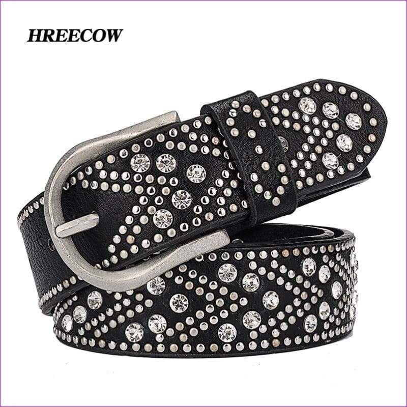 Rivet Inlay Ancient Belt For Women Fashion Pin Buckle Waist Women Belts Luxury Brands Leather Belt - White Silver / 100cm - Womens Belts