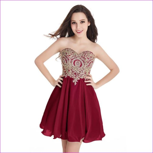 Robe de Cocktail Sexy Open Back Golden Lace Chiffon Cocktail Dresses 2017 Real Image Shor Party Dress Robe de Soiree Courte - burgundy / 2 -