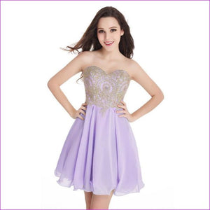 Robe de Cocktail Sexy Open Back Golden Lace Chiffon Cocktail Dresses 2017 Real Image Shor Party Dress Robe de Soiree Courte - lavender / 2 -