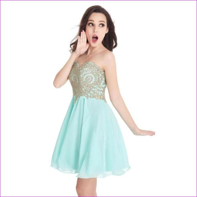 Robe de Cocktail Sexy Open Back Golden Lace Chiffon Cocktail Dresses 2017 Real Image Shor Party Dress Robe de Soiree Courte - mint green / 2
