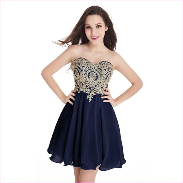 Robe de Cocktail Sexy Open Back Golden Lace Chiffon Cocktail Dresses 2017 Real Image Shor Party Dress Robe de Soiree Courte - navy blue / 2