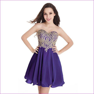 Robe de Cocktail Sexy Open Back Golden Lace Chiffon Cocktail Dresses 2017 Real Image Shor Party Dress Robe de Soiree Courte - Purple / 2 -