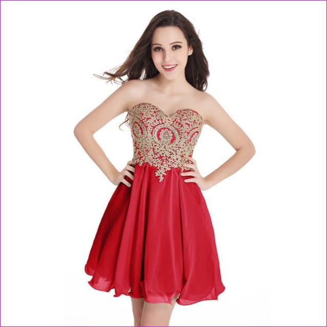 Robe de Cocktail Sexy Open Back Golden Lace Chiffon Cocktail Dresses 2017 Real Image Shor Party Dress Robe de Soiree Courte - Red / 2 -