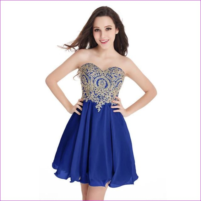 Robe de Cocktail Sexy Open Back Golden Lace Chiffon Cocktail Dresses 2017 Real Image Shor Party Dress Robe de Soiree Courte - royal blue / 2