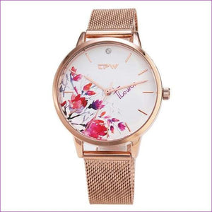 Rose Gold Women Watch Casual Love Heart Quartz Wrist Watch Women Dress Ladies Watches - rose corn flower - Womens Watches