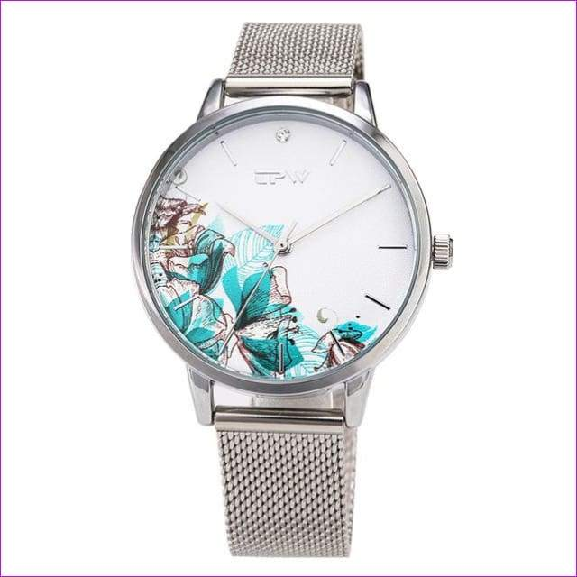 Rose Gold Women Watch Casual Love Heart Quartz Wrist Watch Women Dress Ladies Watches - silver corn flower - Womens Watches