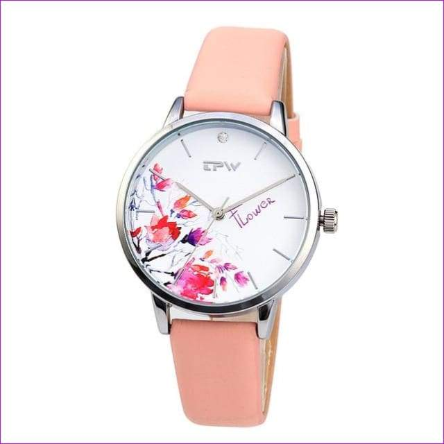 Rose Gold Women Watch Casual Love Heart Quartz Wrist Watch Women Dress Ladies Watches - water flower - Womens Watches