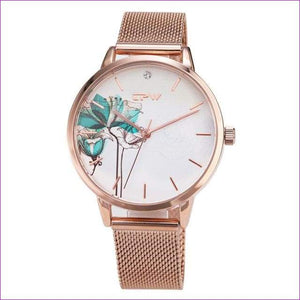 Rose Gold Women Watch Casual Love Heart Quartz Wrist Watch Women Dress Ladies Watches - rose water flower - Womens Watches