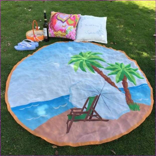 Round Beach Pool Home Shower Towel Blanket Table Cloth Beach Cover Up Bikini - Beach Cover Ups