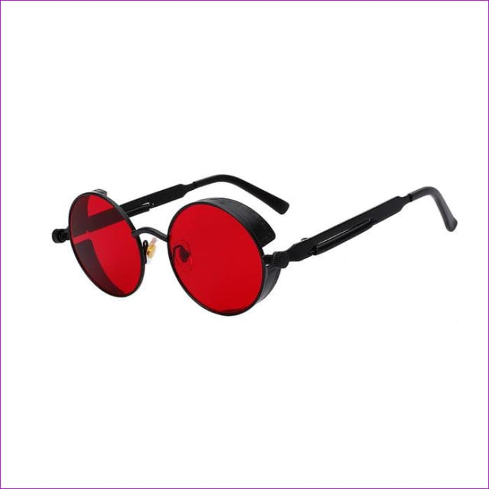 Round Metal Sunglasses Steampunk Men Women Fashion Glasses Brand Designer Retro Vintage Sunglasses UV400 - Black w sea red - Mens Sunglasses