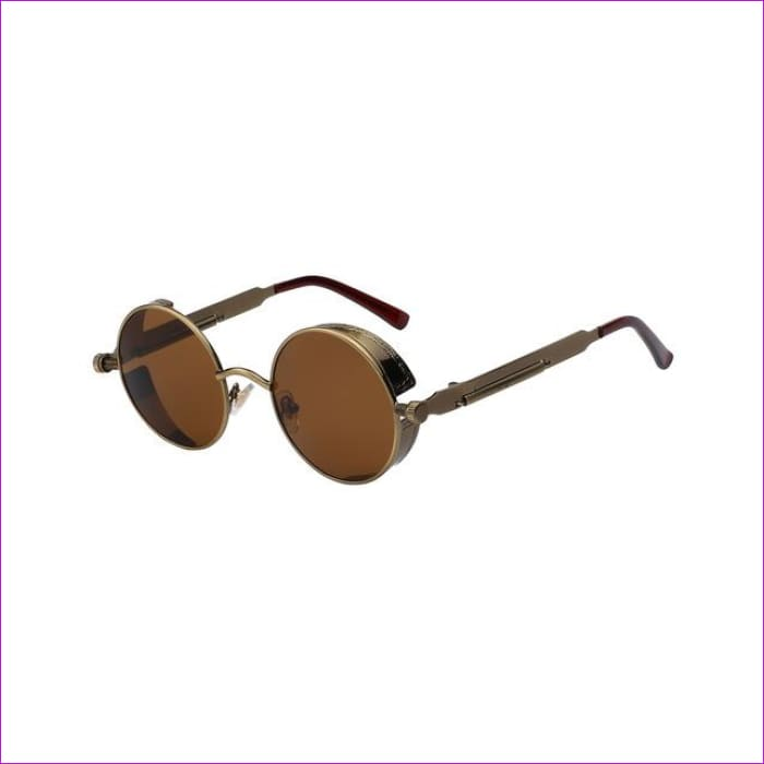 Round Metal Sunglasses Steampunk Men Women Fashion Glasses Brand Designer Retro Vintage Sunglasses UV400 - Brass w brown lens - Mens