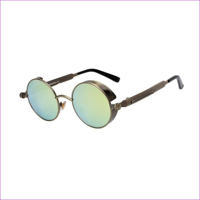 Round Metal Sunglasses Steampunk Men Women Fashion Glasses Brand Designer Retro Vintage Sunglasses UV400 - Brass w gold mirror - Mens