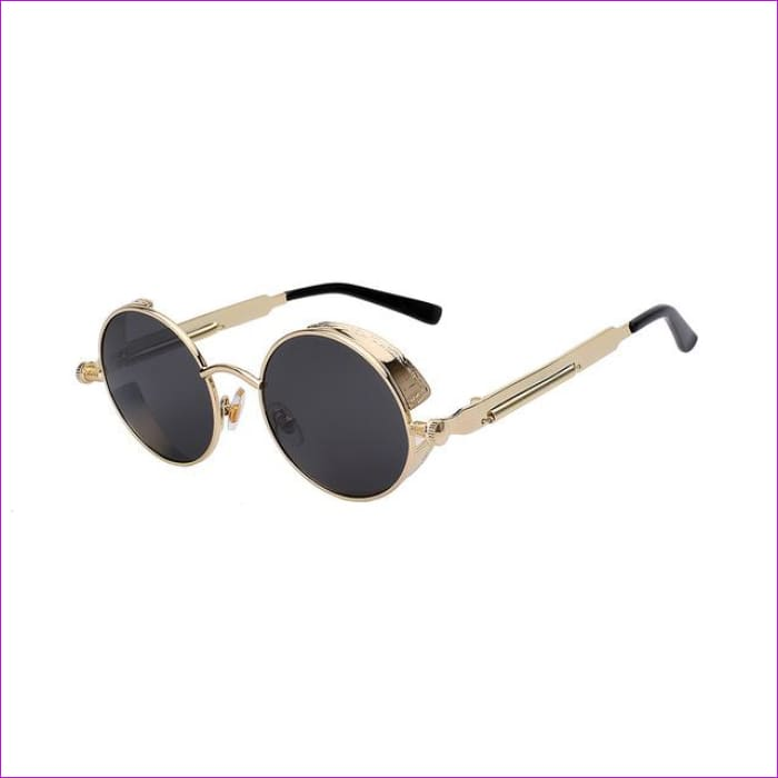 Round Metal Sunglasses Steampunk Men Women Fashion Glasses Brand Designer Retro Vintage Sunglasses UV400 - Gold w black - Mens Sunglasses