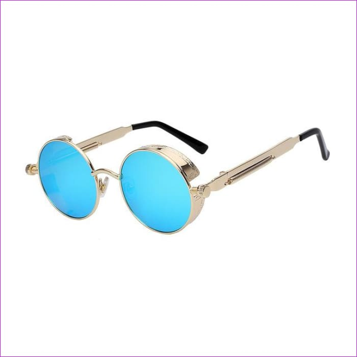 Round Metal Sunglasses Steampunk Men Women Fashion Glasses Brand Designer Retro Vintage Sunglasses UV400 - Gold w blue mir - Mens Sunglasses
