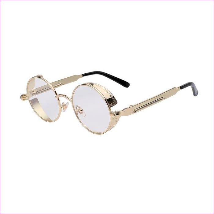 Round Metal Sunglasses Steampunk Men Women Fashion Glasses Brand Designer Retro Vintage Sunglasses UV400 - Gold w clear lens - Mens