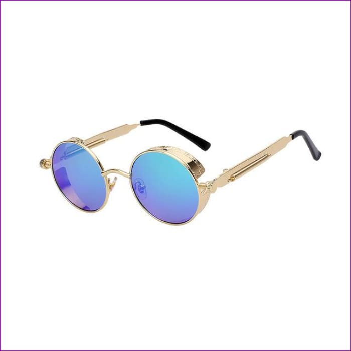 Round Metal Sunglasses Steampunk Men Women Fashion Glasses Brand Designer Retro Vintage Sunglasses UV400 - Gold w green mir - Mens