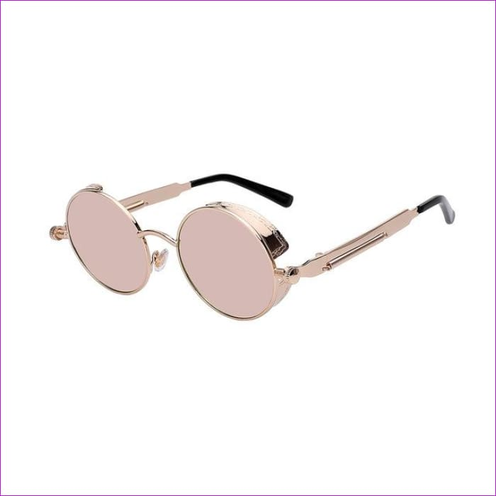 Round Metal Sunglasses Steampunk Men Women Fashion Glasses Brand Designer Retro Vintage Sunglasses UV400 - Gold w pink mir - Mens Sunglasses