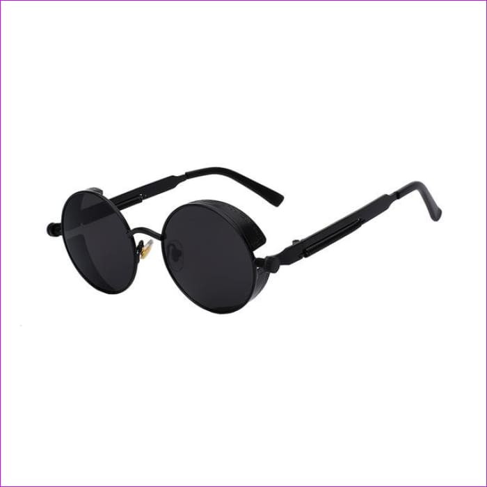Round Metal Sunglasses Steampunk Men Women Fashion Glasses Brand Designer Retro Vintage Sunglasses UV400 - Matt Black w black - Mens