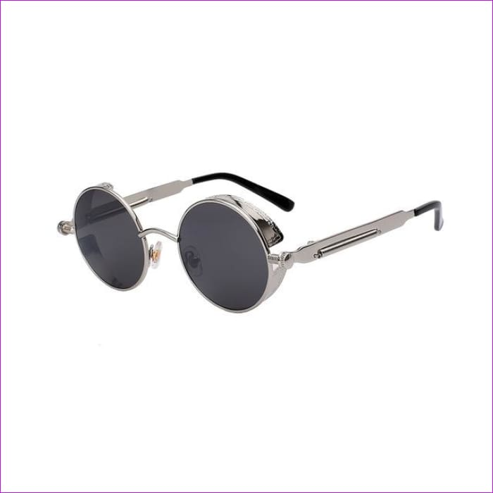 Round Metal Sunglasses Steampunk Men Women Fashion Glasses Brand Designer Retro Vintage Sunglasses UV400 - Silver w black - Mens Sunglasses