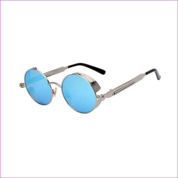 Round Metal Sunglasses Steampunk Men Women Fashion Glasses Brand Designer Retro Vintage Sunglasses UV400 - Silver w blue mir - Mens