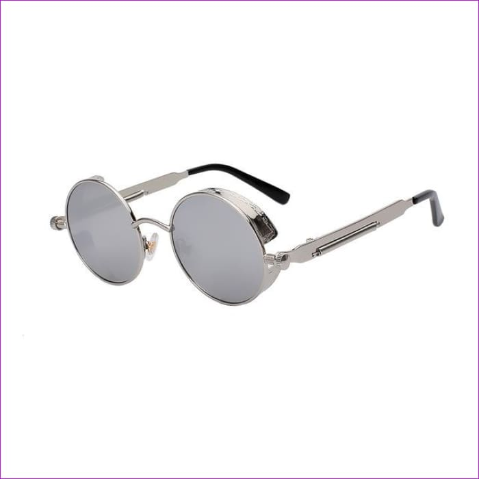 Round Metal Sunglasses Steampunk Men Women Fashion Glasses Brand Designer Retro Vintage Sunglasses UV400 - Silver w silver mir - Mens