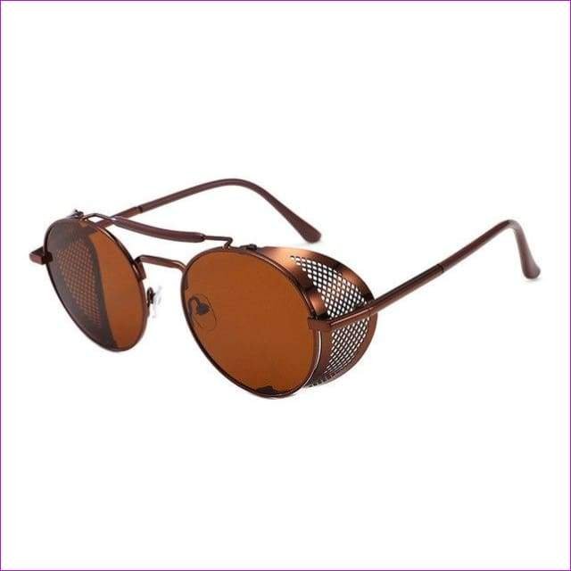 22ab5bf45d81c Round Metal Sunglasses SteamPunk Style Side Mesh Glasses Shades UV  Protection - C7 - Sun Glasses