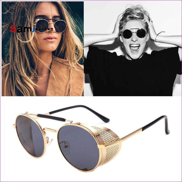 Round Metal Sunglasses SteamPunk Style Side Mesh Glasses Shades UV Protection - Sun Glasses