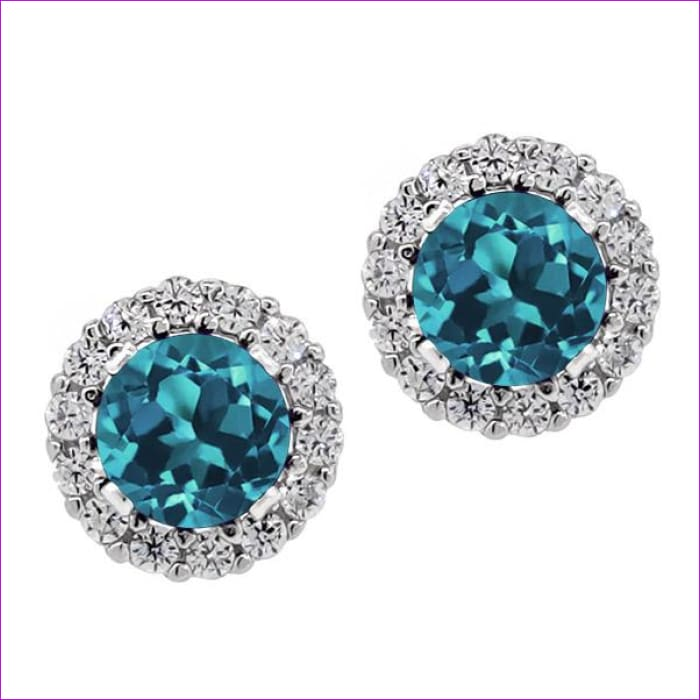 Round Natural London Blue Topaz Womens Solid 925 Sterling Silver Stud Earrings - Blue / China - Earrings Drop Earrings