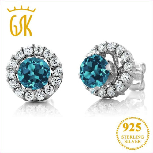 Round Natural London Blue Topaz Womens Solid 925 Sterling Silver Stud Earrings - Earrings Drop Earrings