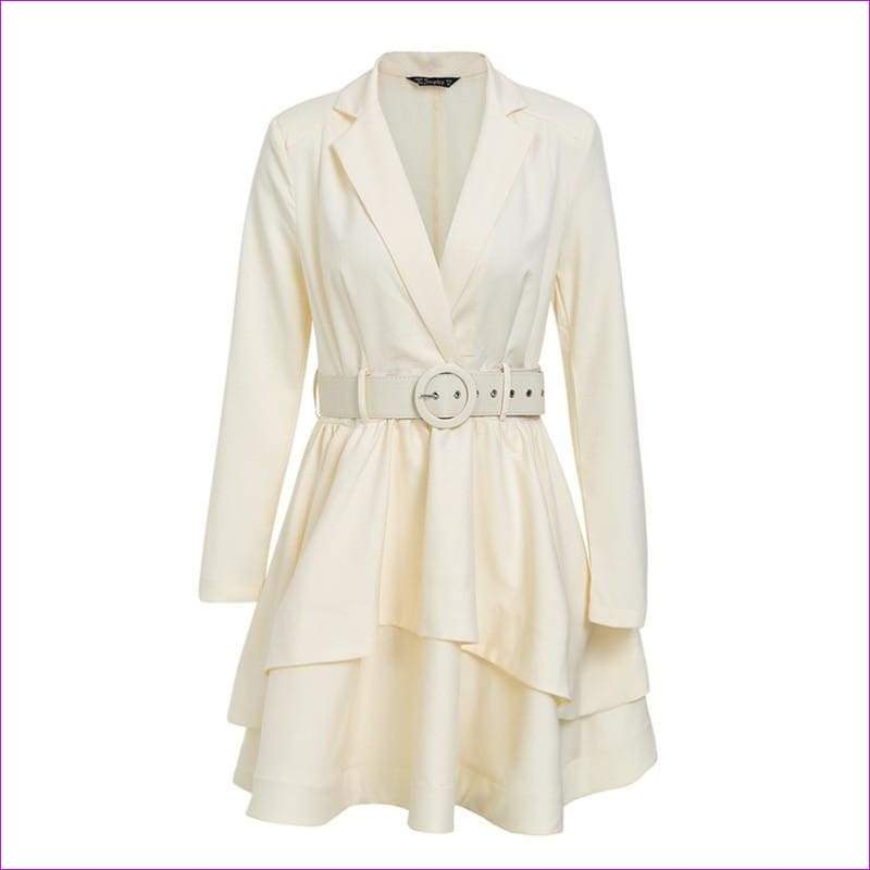 Ruffle turndown collar white dress Sash high waist women dress - Beige / S - Sexy Dresses